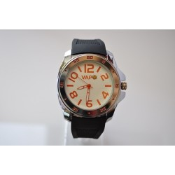 VAPO watch white quadrant orange writing silicon strap