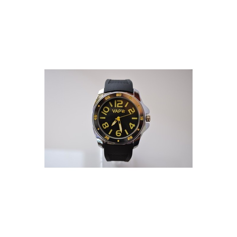 VAPO watch black quadrant yellow writing silicon strap
