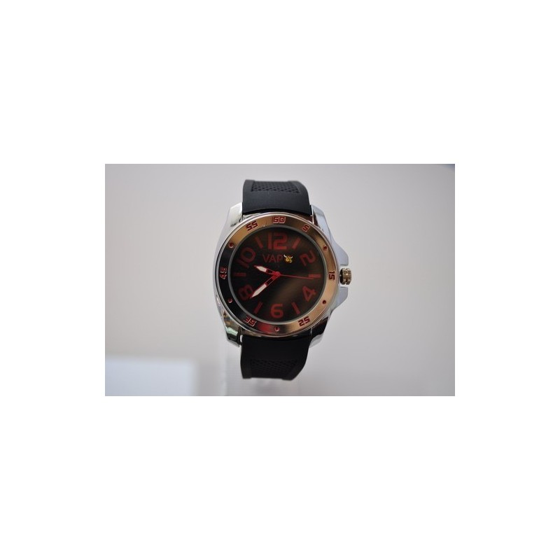 VAPO watch black quadrant red writing silicon strap