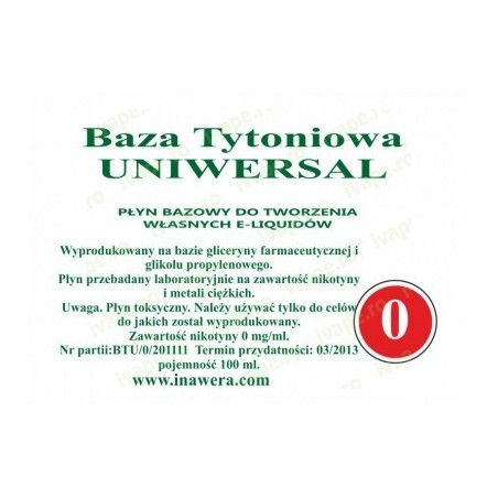 Inawera - baza universala 0mg - 100 ml