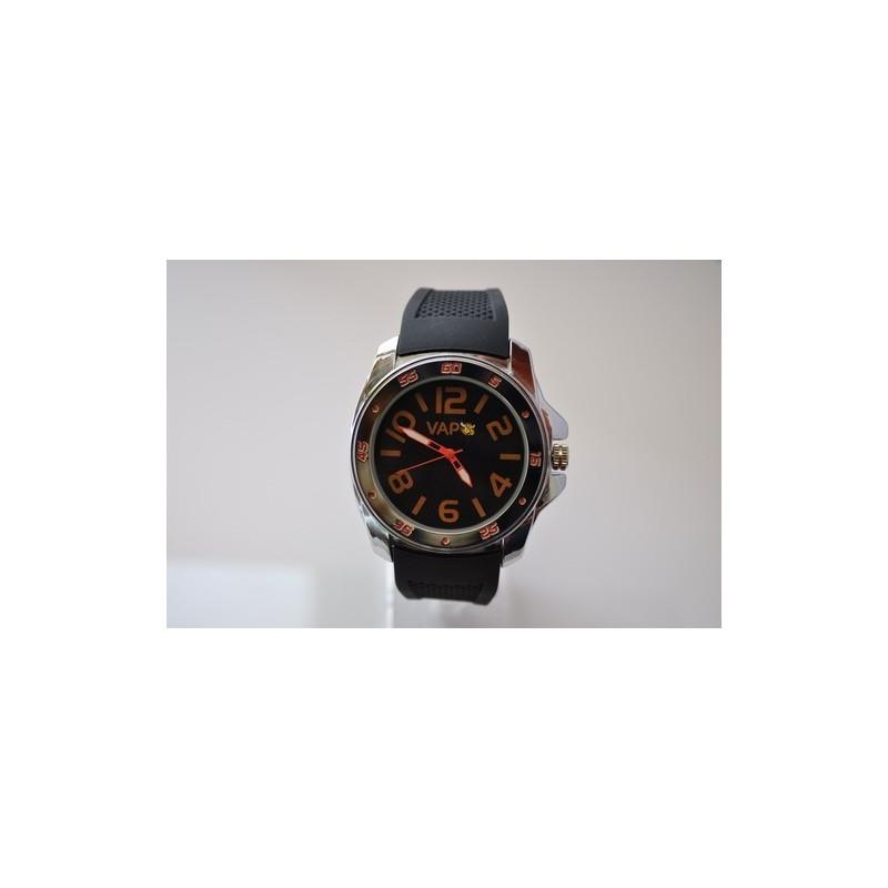 Ceas VAPO curea silicon cadran negru scris portocaliu 348
