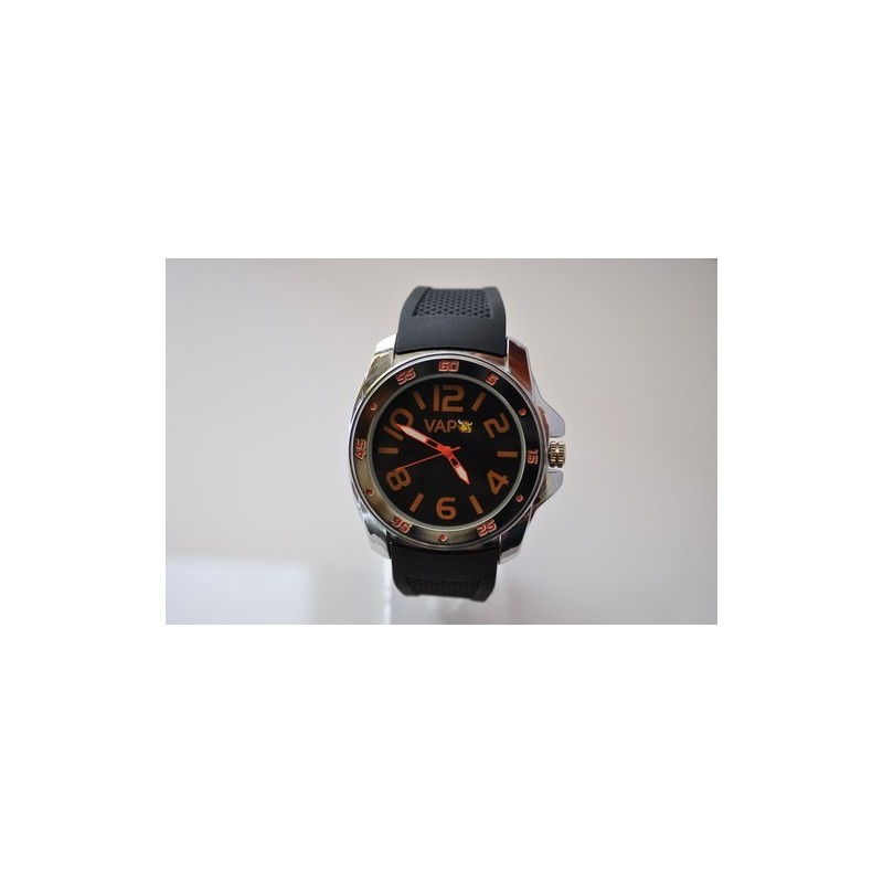 VAPO watch black quadrant orange writing silicon strap