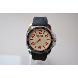 VAPO watch white quadrant red writing silicon strap