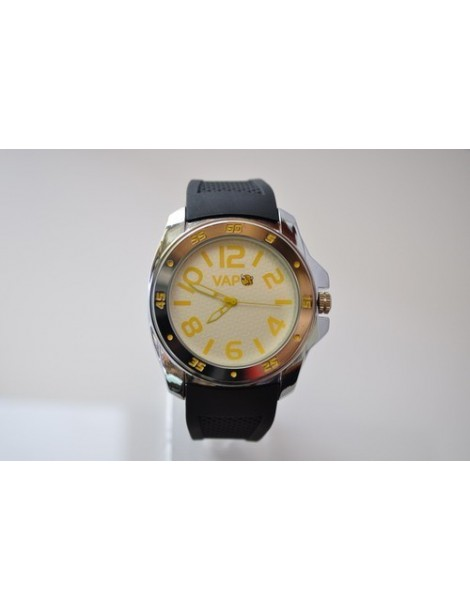 VAPO watch white quadrant yellow writing silicon strap