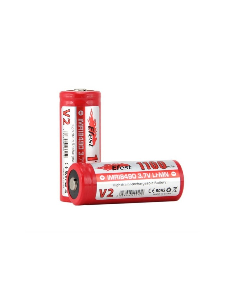 Efest IMR 18490 Li-Mn 1100mAh high drain rechargeable battery button top