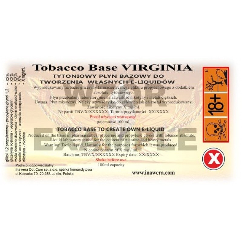 Virginia Base Tobacco 0mg - 100ml