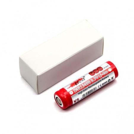 13450 flat top 600mAh Efest rechargeable battery without PCB